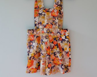 Retro girls dress vintage little girls dress 2T handmade pinafore toddler dress orange blue brown cream yellow dungarees flower power 1970s