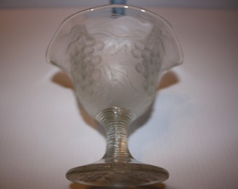 Frosted Glass Candy Dish with Grapes