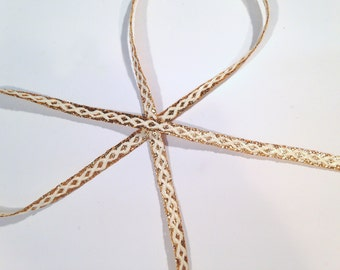 "Gold and White Narrow Trim, lurex and rayon, vintage, 1/4"" wide, 37 yds per lot, 2 lots available."