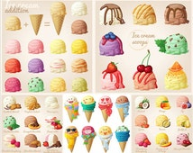 HD Watercolor [Ice Cream Cones] PNG No Background Printable Planner Stickers Filofax/Kikki. K/Erin Condren Life Planner