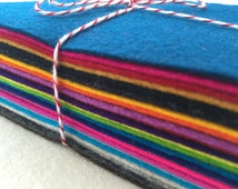 100% Wool Felt Fabric - 12x9cm - 17 Sheets - 17 Colours
