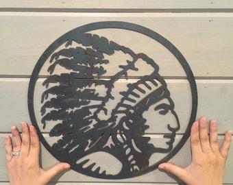 Indian Chief, Native American Decor, American Indian, Indian Headdress, Fixer Upper, HGTV decor, Metal Sign, Metal Decor, Bohemian Art