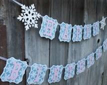 Winter ONEderland Banner, ONEderland Birthday, Winter Wonderland Banner, Snowflake Banner, Frozen Inspired Banner