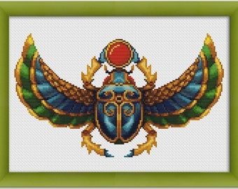 "PDF Cross Stitch Pattern ""Ancient Egyptian Scarab""  Instant Download"