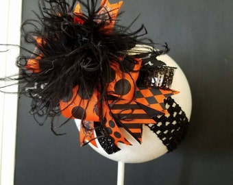 Traditional Halloween Over The Top Boutique Bow Headband Ostrich Feather