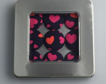 Fabric Button Magnets - Orange & Pink Love Hearts [Tin optional - see packaging options]