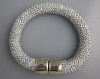 Silver Cord Bracelet with Silver Magnetic Clasp