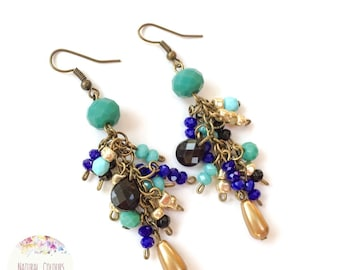 Turquoise, royal blue and calypso beads long earrings, everyday earrings, colourful boho earrings, ibiza earrings, bohemian earrings