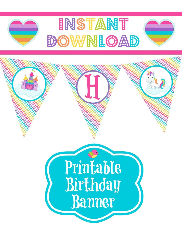 Unicorn Theme Happy Birthday Banner Instant By
