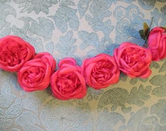 Vintage Pink Rose Millinery Garland