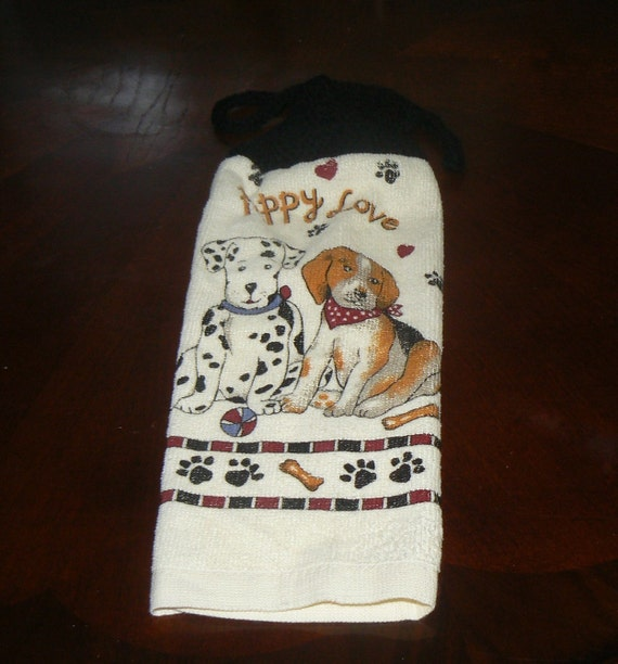Puppy Love Dalmatian and Beagle Hanging Dish Towel With Hand Knit Topper and Ties