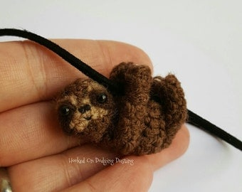 Sloth necklace, miniature, baby sloth, mini, tiny baby three toed sloth pendant on a necklace. Jewellery, jewelry, gift.