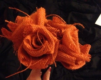 Orange Burlap Flowers with Stems