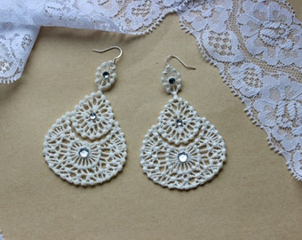 Wedding Lace Accessories, Handmade Jewelry, Bridal Decoration, Lase earrings Ivory