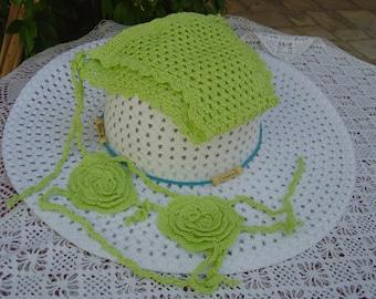 Crochet for baby girl bikini pistachio green, unique piece, crochet, crochet bikini girl swimsuit made in Italy. OOAK Art. 28