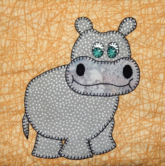 Hippo Pdf Applique Pattern Zoo Animal Quilt Pattern