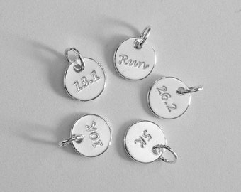 Running Charm Sterling Silver 5K, 10K, 13.1, 26.2, Run