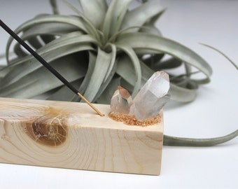 Quartz Crystal Wooden Incense Burner