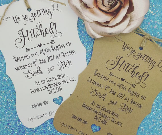 Hitched Wedding Invitations: Getting Hitched Rustic Wedding Invitation Vintage Wedding