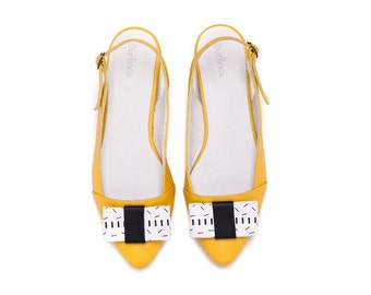 Sale 50% off! Yellow women shoes, yellow flats, bow shoes, sling back shoes, handmade leather shoes by Burlinca, Frida model.