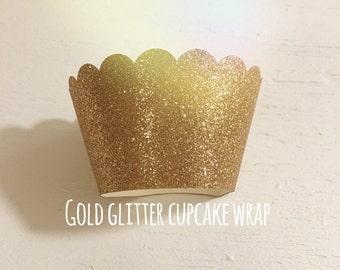Gold glitter cupcake wrapper , Birthday , Wedding , Baby Shower , Bridal shower
