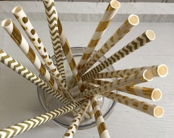 For the love of gold, Paper straws , Metallic straws , Gold hearts,25 Straws,Party, Wedding , Bridal shower
