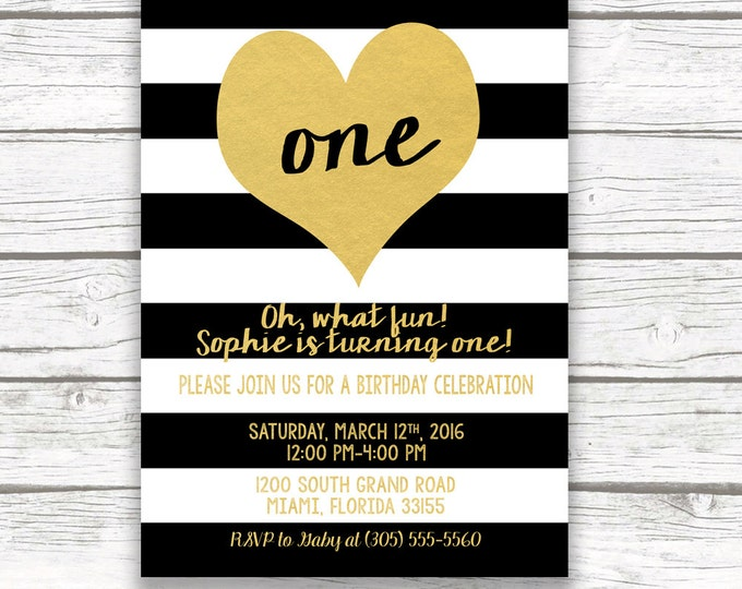 Black and White Striped Gold Foil Heart First Birthday Invitation, Girl One 1st Birthday, Printed Printable Invite with Back