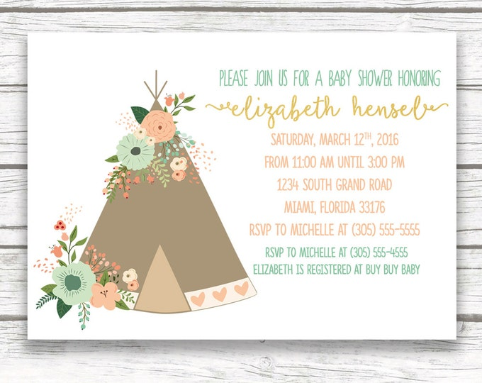 Teepee Boho Baby Shower Invitation, Gold Foil, Mint and Pink, Mint and Peach, Gender Neutral Boy Girl, Printed or Printable Invitation