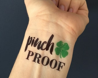 St. Patrick's Day Tattoo, St Patricks Day, St. Patrick's Day Favor, Tattoo, Fake Tattoo, Clover, Lucky, Pinch Proof, Party Favor, Pinch Me