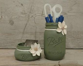Mason Jar Desk Set, Mason Jar Desk Organizer, Mason Jar Desk Decor, Mason Jar Set, Mason Jar Organizer, Coworker Gift, Rustic Office Decor