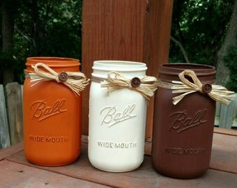 Thanksgiving Mason Jars, Fall Mason Jars, Fall Centerpieces, Thanksgiving Centerpieces, Autumn Home Decor, Mason Jar Set, Fall Wedding