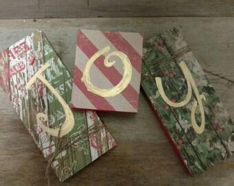 Joy Wood Blocks, Christmas Blocks, Holiday Blocks, Joy Block Set, Christmas Decor, Christmas Mantle, Rustic Holiday Decor, Joy Letters