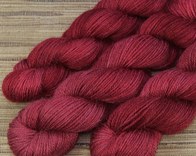 Hand dyed yarn - 50g Alpaca/Silk fingering weight in 'Merlot' - With free cowl pattern