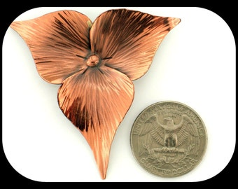 Vintage Designer UNE 3 Leaves Design Copper Tone BROOCH