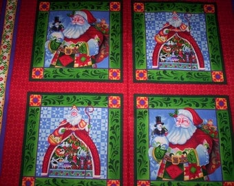1 PILLOW PANEL Jim Shore Springs Creative fabrics vivid colors Santa red green blue purple