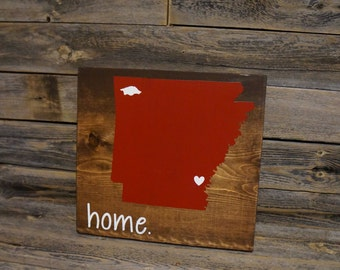 State Sign, Arkansas Sign, Razorback Sign, Mascot Sign, Home Sign, Wood Sign, Pick Your State, Custom Sign