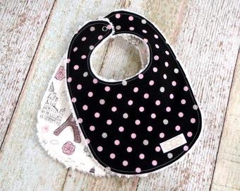 Baby Bibs - Baby Girl Bibs - Eiffel Tower Bib - Polka Dot Bib - Chenille Bibs - Black Pink Bibs - Paris Bibs - Baby Shower Gift