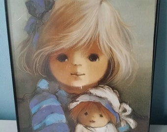 Vintage retro wall decoration print 1960/1970 girl with doll