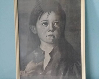 Framed crying girl print black and white! Art or shoddy.. its vintage for sure ;)