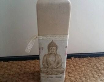 Buddha vase! Decoupaged upcycled vase with buddha print and lace ribbon