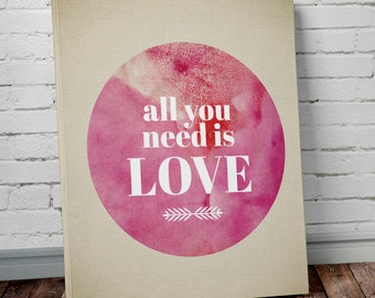 All You Need is Love Canvas Wall Art - Love Wall Art - Watercolor Beatles Lyric Canvas Print