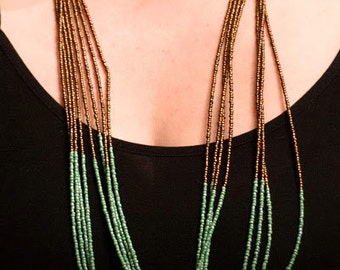 Green and brown seed bead knotted necklace