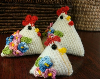 Rooster, hen. Amigurumi. Handmade. Knitted toys. White Rooster.