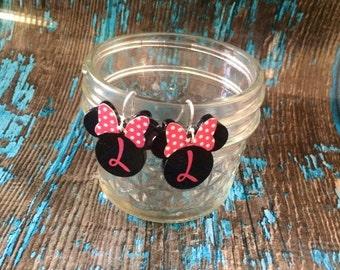 Girl Mouse Earrings, Mouse Earrings, Mouse Inspired, Bow, Monogram Earrings, Personalized Earrings
