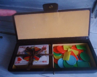 French cards box,leather card box vintage,collectible box,