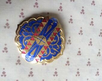 Blue Cloisonné Enamel Pin, Cloisonne Pin