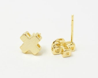 E0060/Anti-tarnished Gold Plating Over Brass+925  Sterling Silver Post/Brusched Cross Earrings /8mm/2pcs