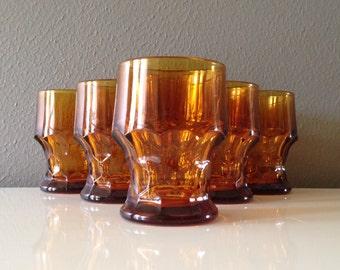 Amber Honeycomb Tumblers