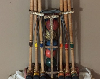 Vintage 1930's COMPLETE Croquet Set / Vintage Croquet Set / Antique Croquet Game