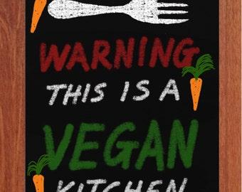 Vegan Kitchen, Chalk Art, Printable Art, Inspiring, Motivational, Modern, Happy,Instant Digital Download,
